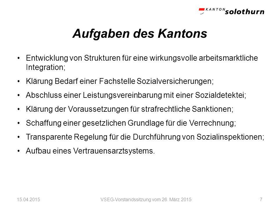 Aufgaben des Kantons VSEG-Vorstandssitzung vom 26.
