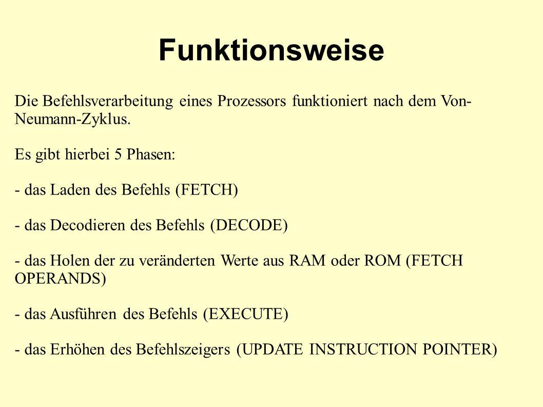 Funktionsweise Die Befehlsverarbeitung eines Prozessors funktioniert nach dem Von- Neumann-Zyklus.