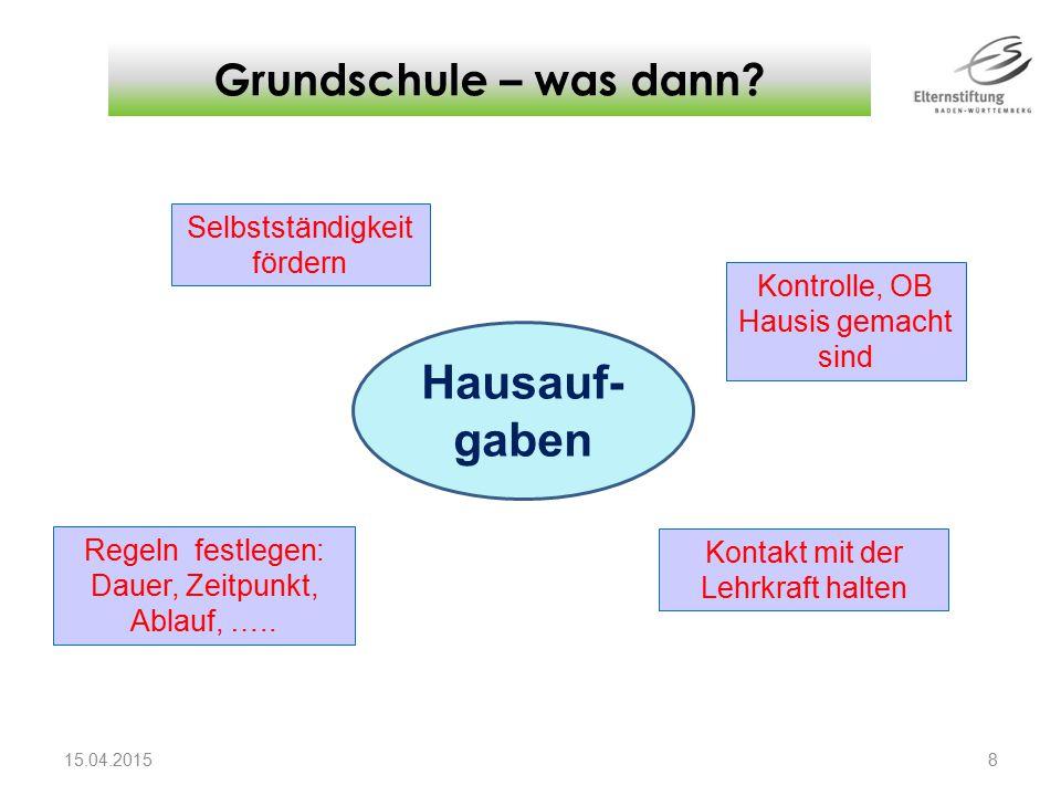 Grundschule – was dann? 15.04.2015 8 Kontrolle, OB Hausis gemacht sind Kontakt mit der Lehrkraft halten Regeln festlegen: Dauer, Zeitpunkt, Ablauf, ….