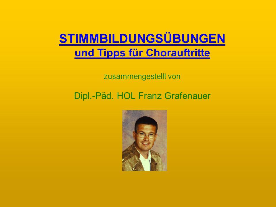 STIMMBILDUNGSÜBUNGEN und Tipps für Chorauftritte zusammengestellt von Dipl.-Päd.
