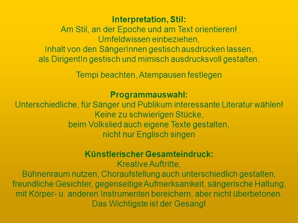 Interpretation, Stil: Am Stil, an der Epoche und am Text orientieren.