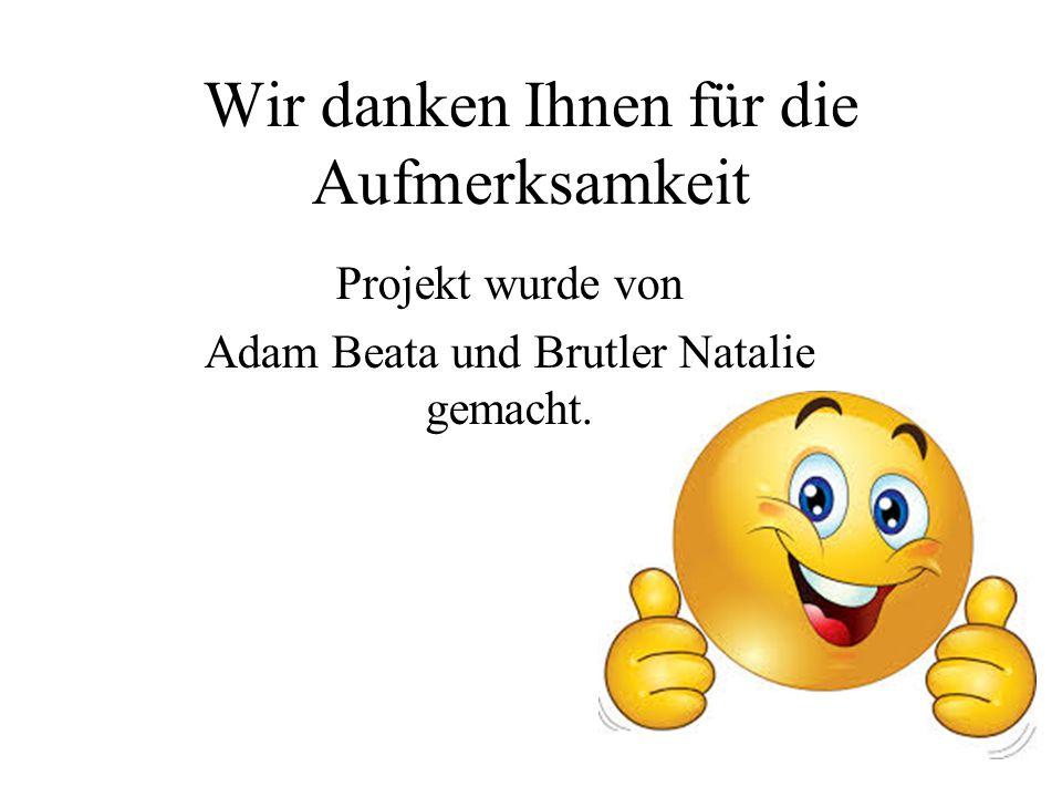 Wir danken Ihnen für die Aufmerksamkeit Projekt wurde von Adam Beata und Brutler Natalie gemacht.