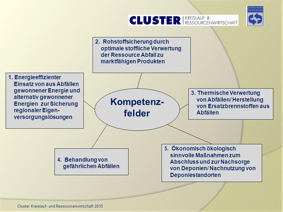 Cluster Kreislauf- und Ressourcenwirtschaft 2015 Kompetenz- felder 1. Energieeffizienter Einsatz von aus Abfällen gewonnener Energie und alternativ ge