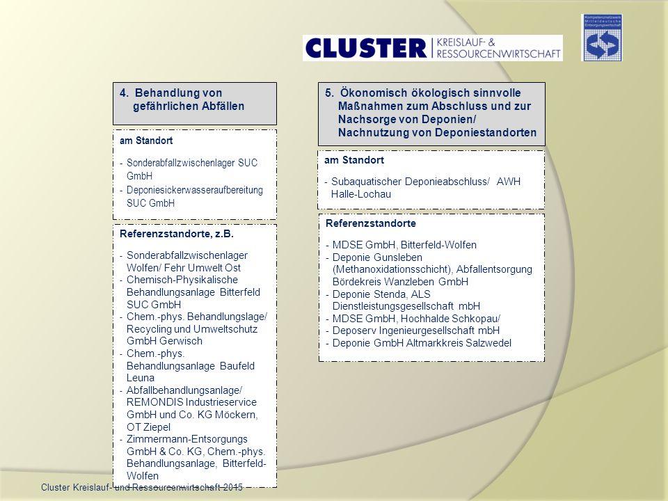 4. Behandlung von gefährlichen Abfällen 5. Ökonomisch ökologisch sinnvolle Maßnahmen zum Abschluss und zur Nachsorge von Deponien/ Nachnutzung von Dep