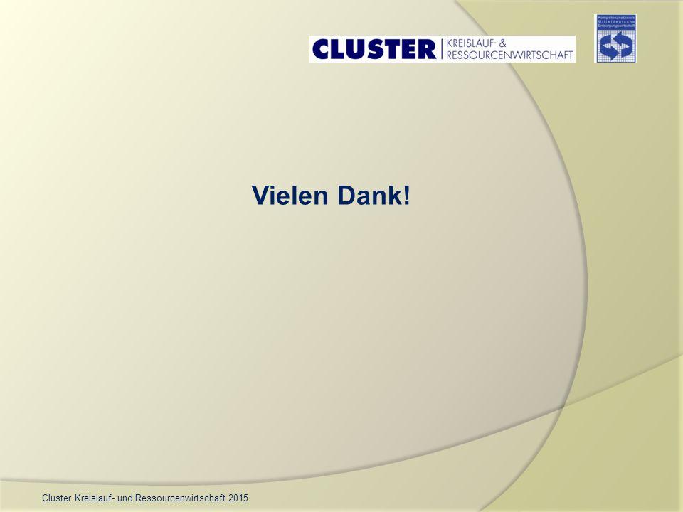 Cluster Kreislauf- und Ressourcenwirtschaft 2015 Vielen Dank!
