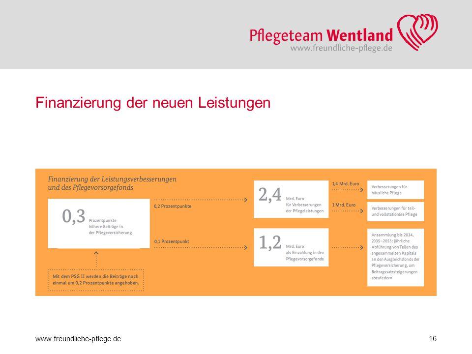 Finanzierung der neuen Leistungen www.freundliche-pflege.de16