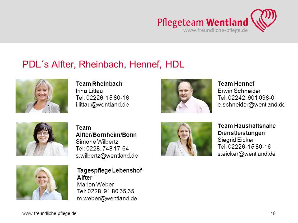 PDL´s Alfter, Rheinbach, Hennef, HDL www.freundliche-pflege.de18 Team Rheinbach Irina Littau Tel: 02226. 15 80-16 i.littau@wentland.de Team Alfter/Bor