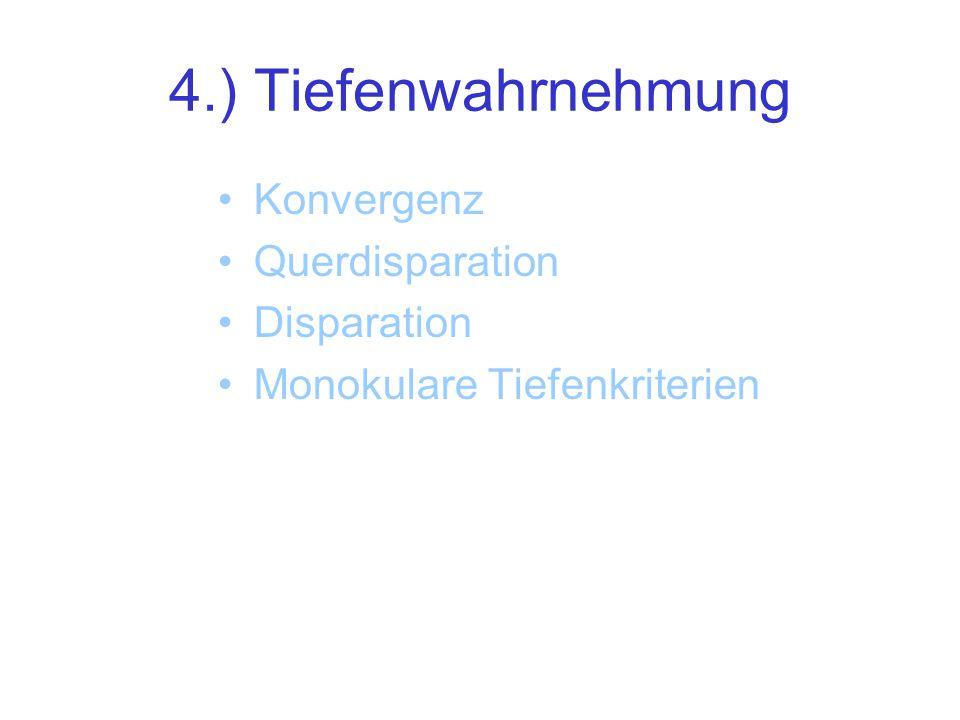4.) Tiefenwahrnehmung Konvergenz Querdisparation Disparation Monokulare Tiefenkriterien