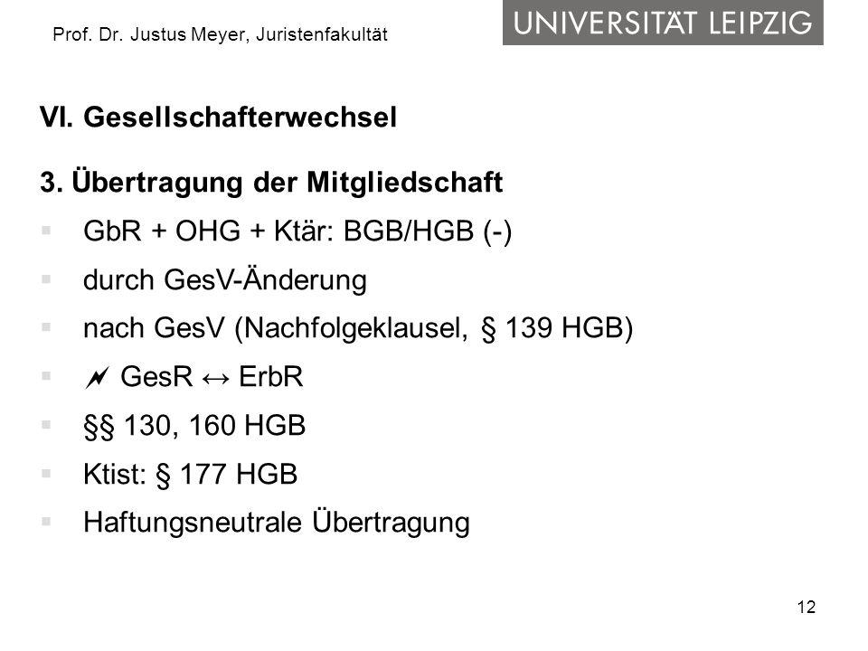 12 Prof. Dr. Justus Meyer, Juristenfakultät VI. Gesellschafterwechsel 3. Übertragung der Mitgliedschaft  GbR + OHG + Ktär: BGB/HGB (-)  durch GesV-Ä