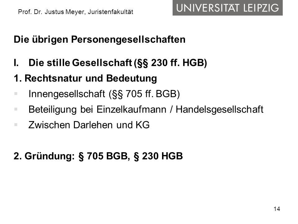 14 Prof. Dr. Justus Meyer, Juristenfakultät Die übrigen Personengesellschaften I.Die stille Gesellschaft (§§ 230 ff. HGB) 1. Rechtsnatur und Bedeutung