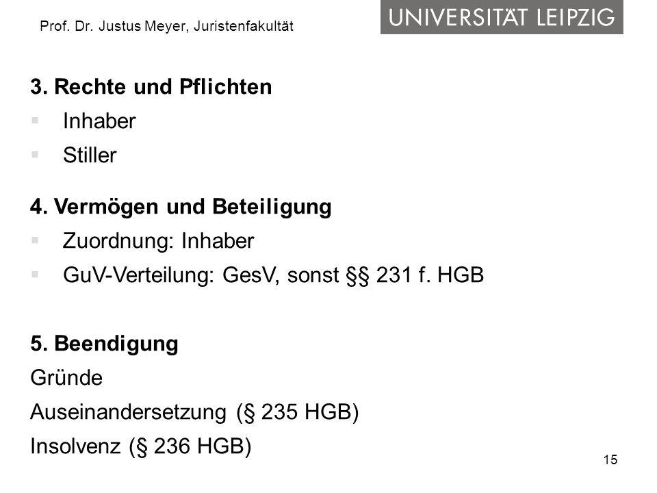 15 Prof. Dr. Justus Meyer, Juristenfakultät 3. Rechte und Pflichten  Inhaber  Stiller 4. Vermögen und Beteiligung  Zuordnung: Inhaber  GuV-Verteil