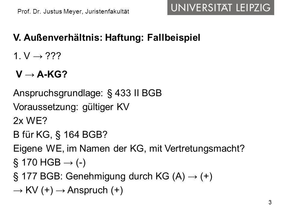 3 Prof. Dr. Justus Meyer, Juristenfakultät V. Außenverhältnis: Haftung: Fallbeispiel 1. V → ??? V → A-KG? Anspruchsgrundlage: § 433 II BGB Voraussetzu