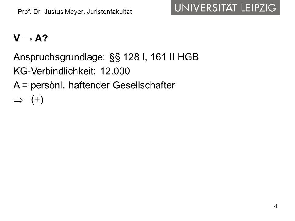 4 Prof. Dr. Justus Meyer, Juristenfakultät V → A? Anspruchsgrundlage: §§ 128 I, 161 II HGB KG-Verbindlichkeit: 12.000 A = persönl. haftender Gesellsch