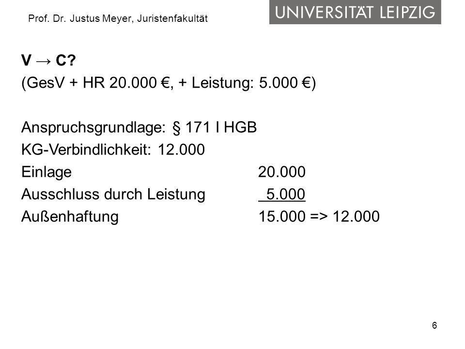 6 Prof. Dr. Justus Meyer, Juristenfakultät V → C? (GesV + HR 20.000 €, + Leistung: 5.000 €) Anspruchsgrundlage: § 171 I HGB KG-Verbindlichkeit: 12.000