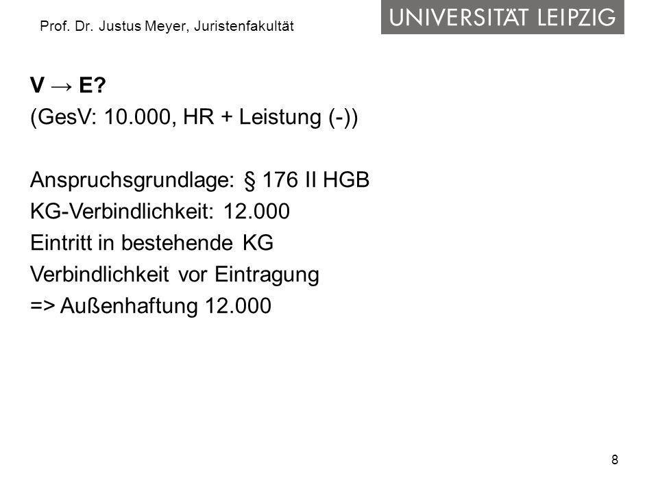 8 Prof. Dr. Justus Meyer, Juristenfakultät V → E? (GesV: 10.000, HR + Leistung (-)) Anspruchsgrundlage: § 176 II HGB KG-Verbindlichkeit: 12.000 Eintri
