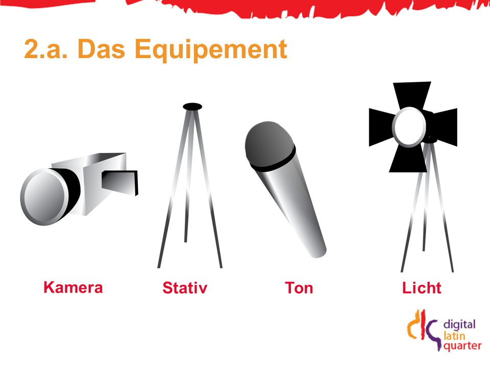 2.a. Das Equipement Kamera StativTonLicht