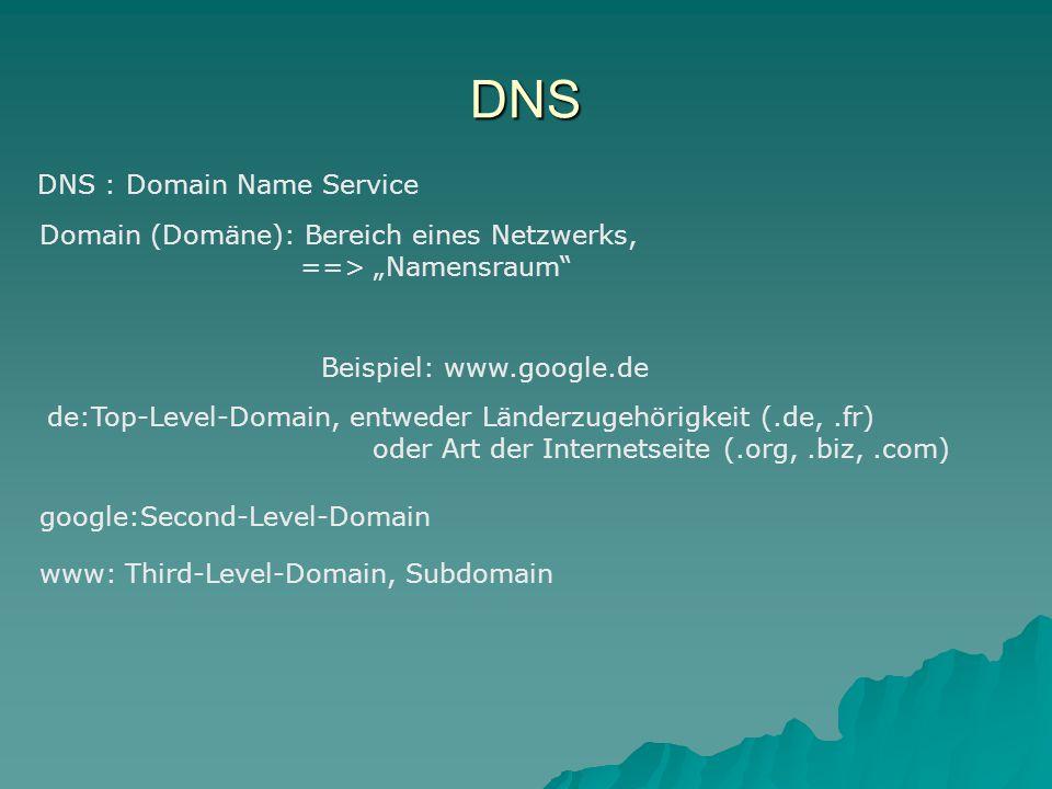 """DNS DNS : Domain Name Service Domain (Domäne): Bereich eines Netzwerks, ==> """"Namensraum Beispiel: www.google.de de:Top-Level-Domain, entweder Länderzugehörigkeit (.de,.fr) oder Art der Internetseite (.org,.biz,.com) google:Second-Level-Domain www: Third-Level-Domain, Subdomain"""