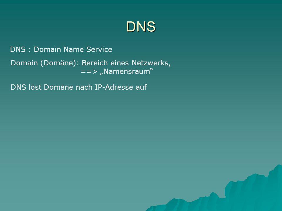 """DNS DNS : Domain Name Service Domain (Domäne): Bereich eines Netzwerks, ==> """"Namensraum DNS löst Domäne nach IP-Adresse auf"""