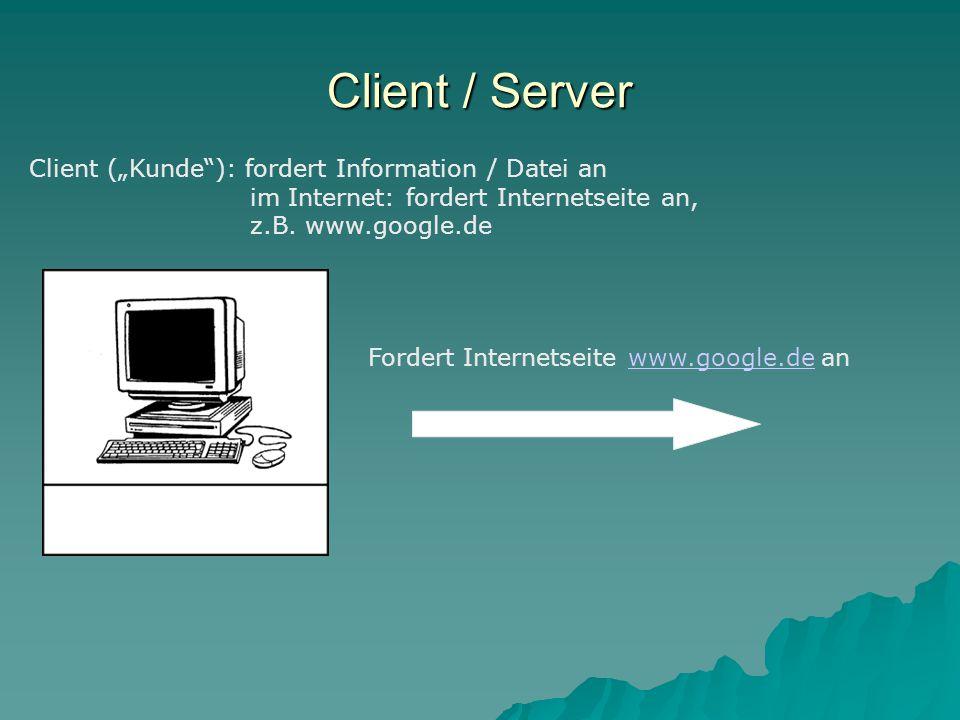 """Client / Server Client (""""Kunde ): fordert Information / Datei an im Internet: fordert Internetseite an, z.B."""