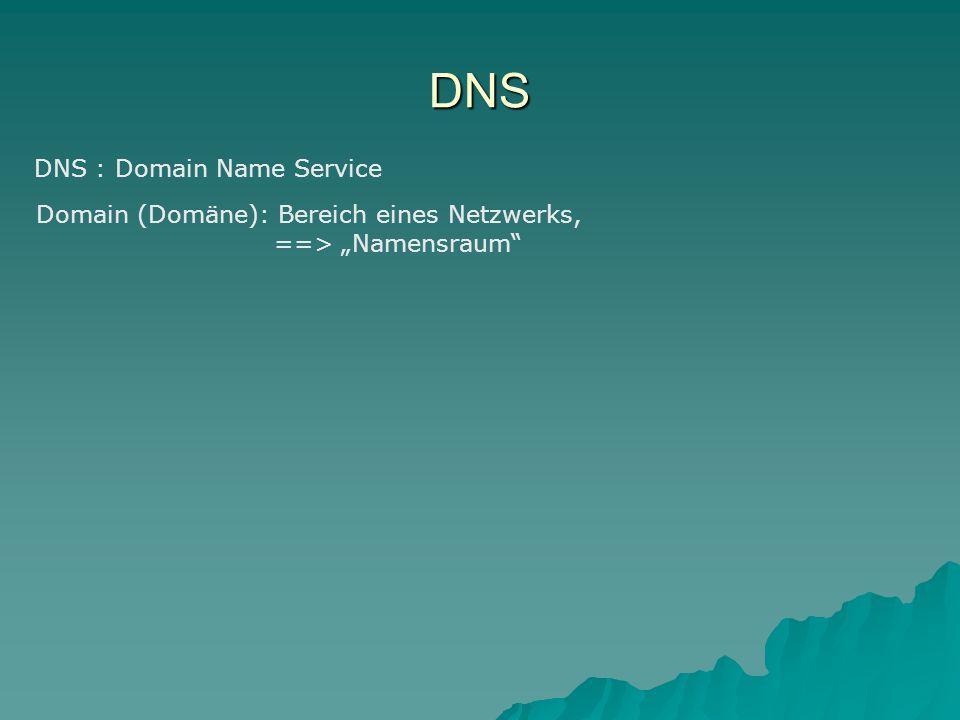 "DNS DNS : Domain Name Service Domain (Domäne): Bereich eines Netzwerks, ==> ""Namensraum"