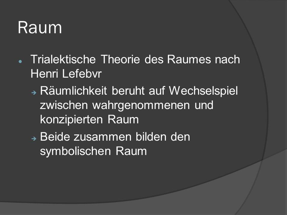 Raum Trialektische Theorie des Raumes nach Henri Lefebvr  Räumlichkeit beruht auf Wechselspiel zwischen wahrgenommenen und konzipierten Raum  Beide zusammen bilden den symbolischen Raum
