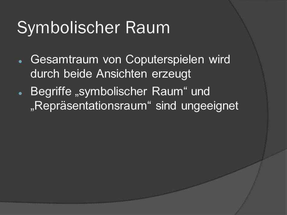 """Symbolischer Raum Gesamtraum von Coputerspielen wird durch beide Ansichten erzeugt Begriffe """"symbolischer Raum und """"Repräsentationsraum sind ungeeignet"""