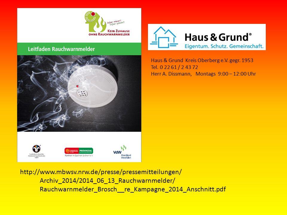 Haus & Grund Kreis Oberberg e.V.gegr. 1953 Tel. 0 22 61 / 2 43 72 Herr A.