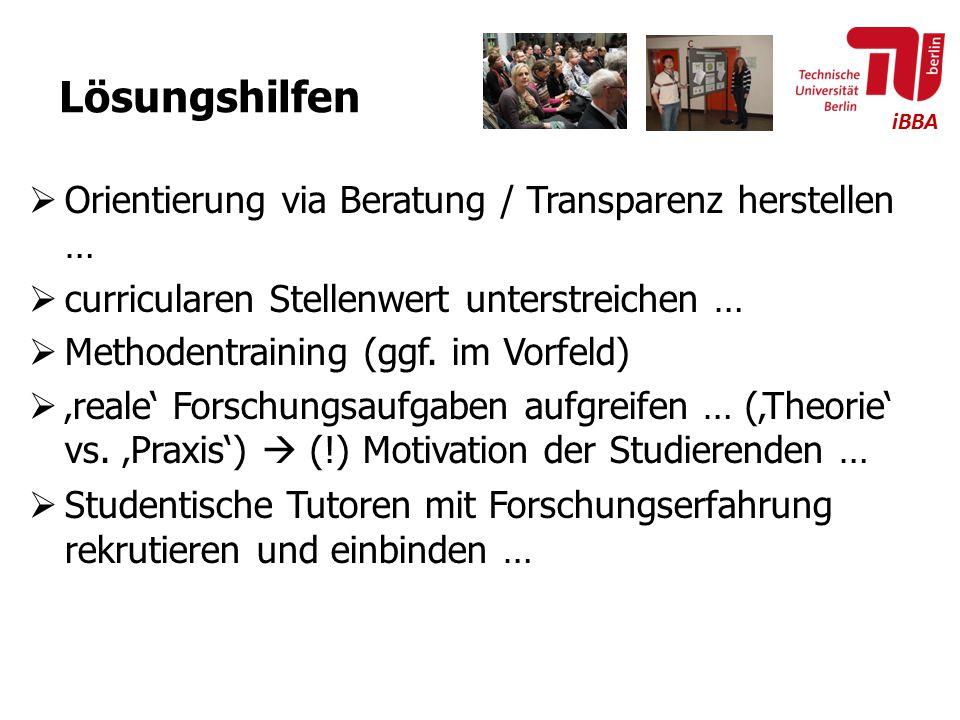 iBBA Lösungshilfen  Orientierung via Beratung / Transparenz herstellen …  curricularen Stellenwert unterstreichen …  Methodentraining (ggf. im Vorf