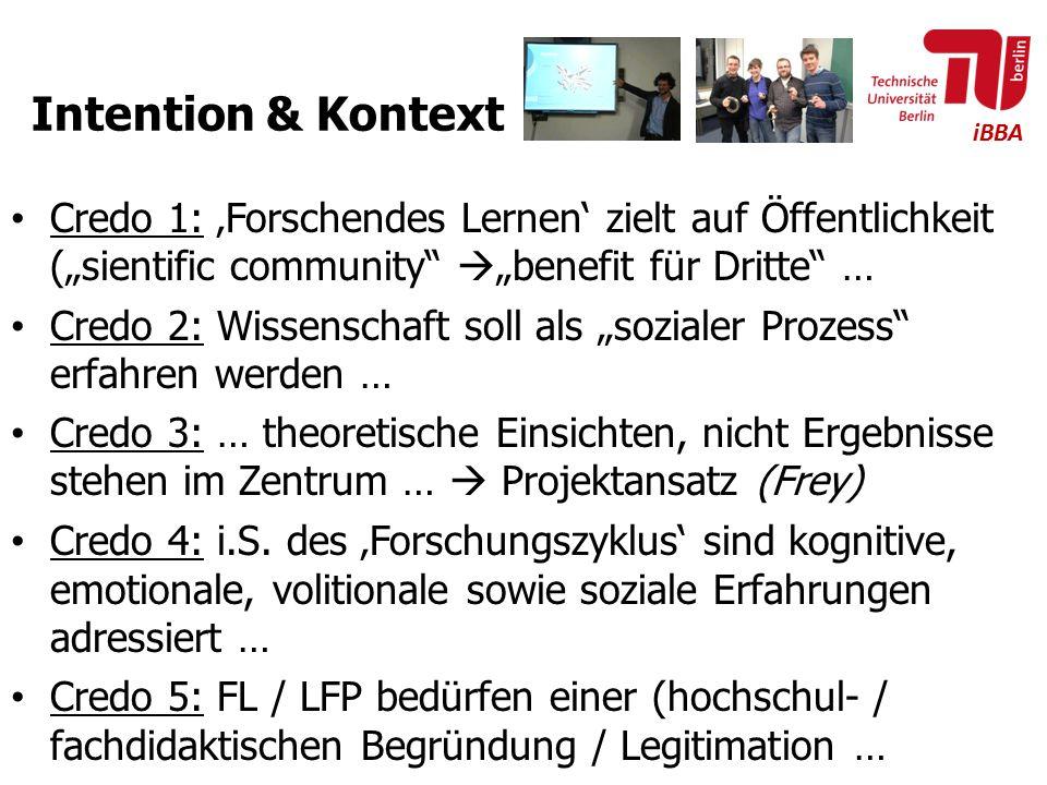 """iBBA Intention & Kontext Credo 1: 'Forschendes Lernen' zielt auf Öffentlichkeit (""""sientific community""""  """"benefit für Dritte"""" … Credo 2: Wissenschaft"""