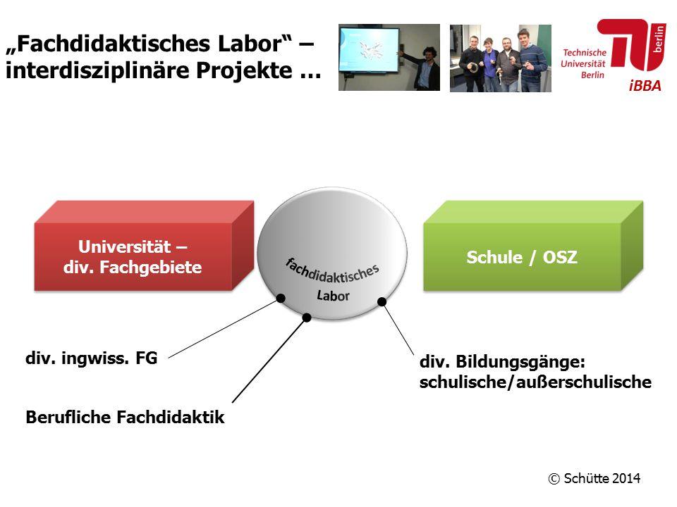 """iBBA """"Fachdidaktisches Labor"""" – interdisziplinäre Projekte … Universität – div. Fachgebiete Universität – div. Fachgebiete Schule / OSZ div. ingwiss."""