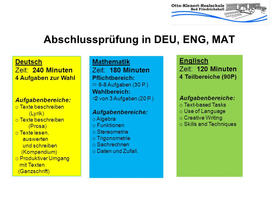 Abschlussprüfung in Englisch Jahresleistung: 50% Prüfungsleistung: 50% Eurokom = 25% Schriftliche Prüfung =25% Bei mdl.