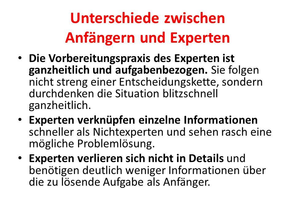 Unterschiede zwischen Anfängern und Experten Expertenwissen ist abstrakter als das Wissen von Nichtexperten.