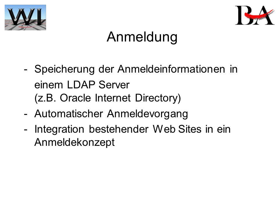 Anmeldung - Speicherung der Anmeldeinformationen in einem LDAP Server (z.B. Oracle Internet Directory) - Automatischer Anmeldevorgang - Integration be