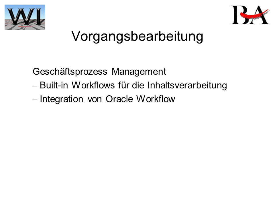 Vorgangsbearbeitung Geschäftsprozess Management – Built-in Workflows für die Inhaltsverarbeitung – Integration von Oracle Workflow