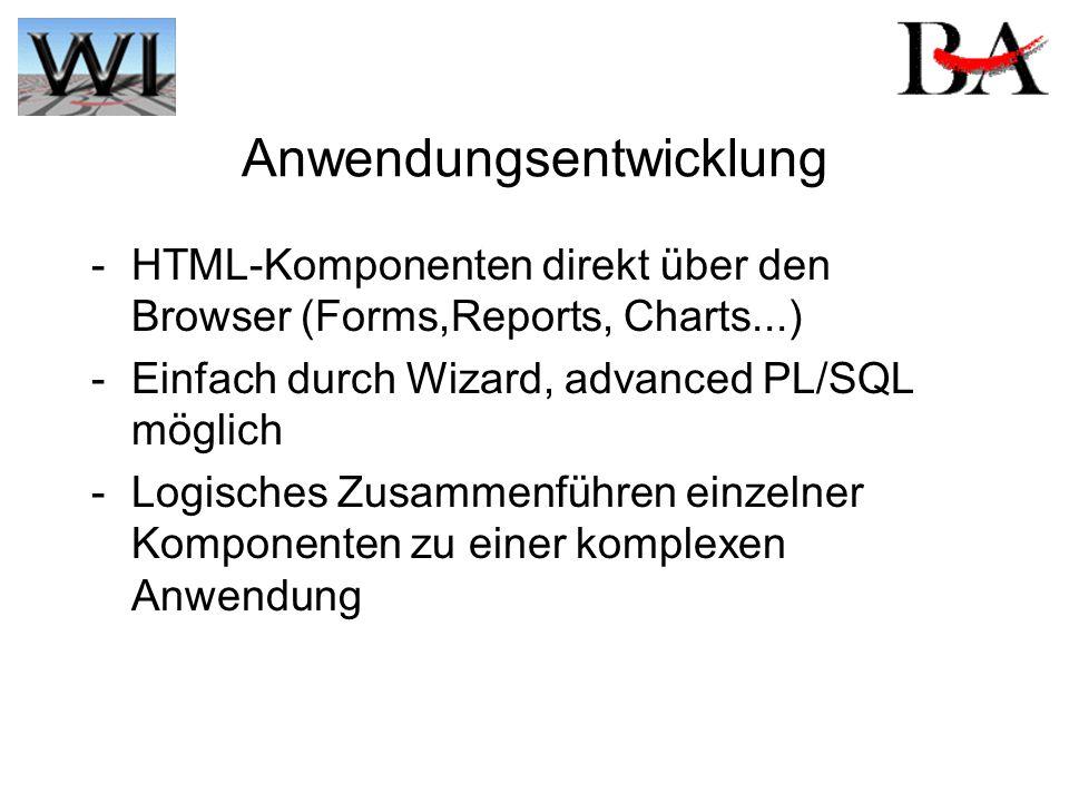 Anwendungsentwicklung - HTML-Komponenten direkt über den Browser (Forms,Reports, Charts...) - Einfach durch Wizard, advanced PL/SQL möglich - Logisches Zusammenführen einzelner Komponenten zu einer komplexen Anwendung