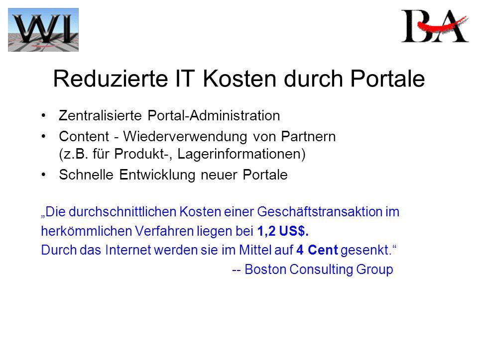 Reduzierte IT Kosten durch Portale Zentralisierte Portal-Administration Content - Wiederverwendung von Partnern (z.B. für Produkt-, Lagerinformationen