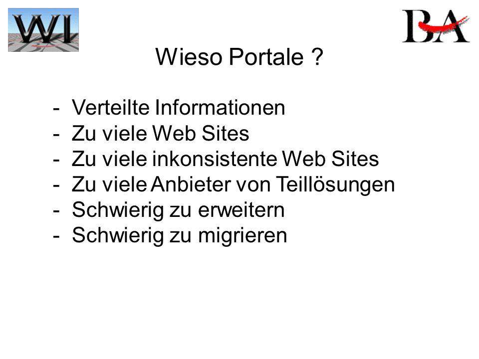 Wieso Portale ? - Verteilte Informationen - Zu viele Web Sites - Zu viele inkonsistente Web Sites - Zu viele Anbieter von Teillösungen - Schwierig zu