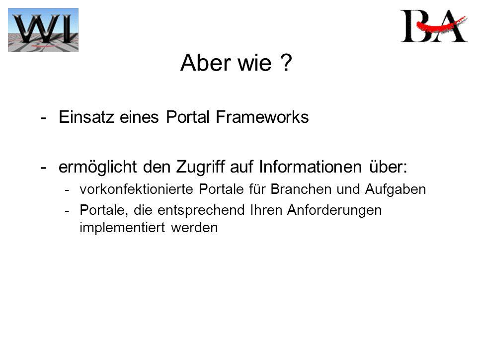 Aber wie ? - Einsatz eines Portal Frameworks -ermöglicht den Zugriff auf Informationen über: -vorkonfektionierte Portale für Branchen und Aufgaben -Po