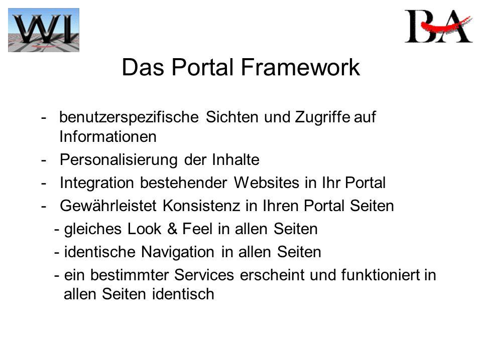 Das Portal Framework -benutzerspezifische Sichten und Zugriffe auf Informationen - Personalisierung der Inhalte - Integration bestehender Websites in Ihr Portal - Gewährleistet Konsistenz in Ihren Portal Seiten - gleiches Look & Feel in allen Seiten - identische Navigation in allen Seiten - ein bestimmter Services erscheint und funktioniert in allen Seiten identisch