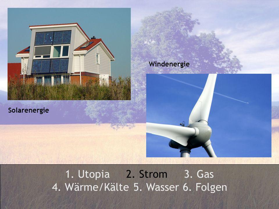1. Utopia 2. Strom 3. Gas 4. Wärme/Kälte 5. Wasser 6. Folgen Solarenergie Windenergie