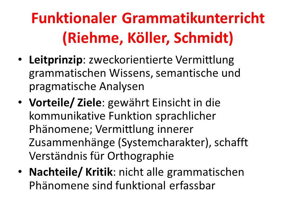 Funktionaler Grammatikunterricht (Riehme, Köller, Schmidt) Leitprinzip: zweckorientierte Vermittlung grammatischen Wissens, semantische und pragmatisc