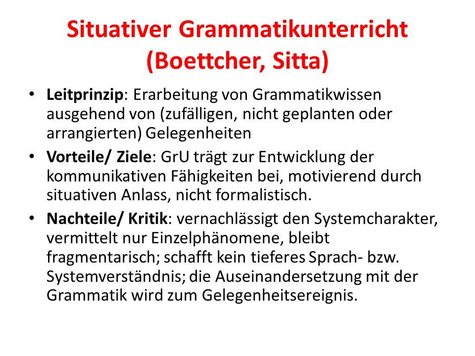 Situativer Grammatikunterricht (Boettcher, Sitta) Leitprinzip: Erarbeitung von Grammatikwissen ausgehend von (zufälligen, nicht geplanten oder arrangi
