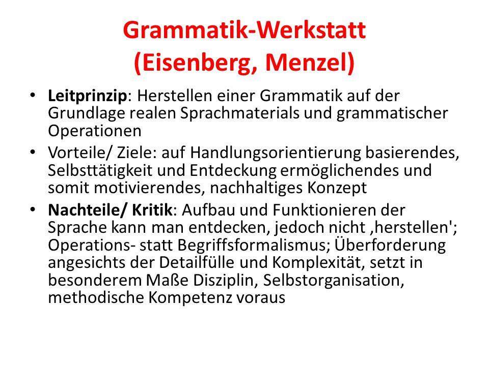 Grammatik-Werkstatt (Eisenberg, Menzel) Leitprinzip: Herstellen einer Grammatik auf der Grundlage realen Sprachmaterials und grammatischer Operationen
