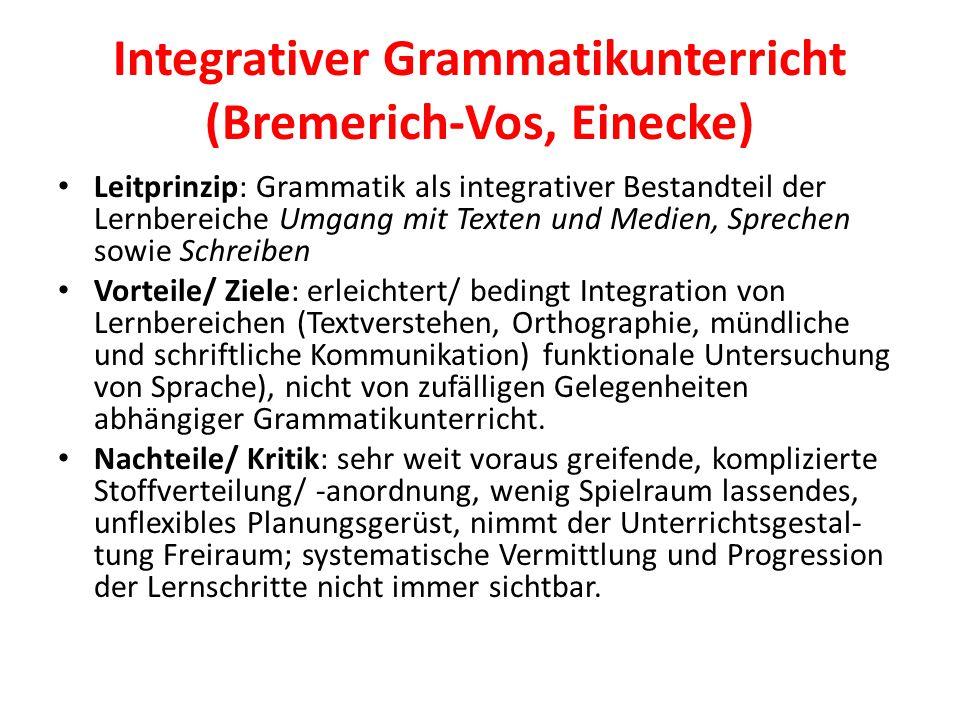 Integrativer Grammatikunterricht (Bremerich-Vos, Einecke) Leitprinzip: Grammatik als integrativer Bestandteil der Lernbereiche Umgang mit Texten und M