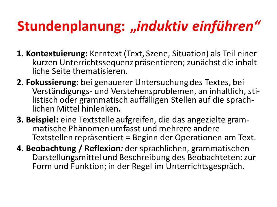 """Stundenplanung: """"induktiv einführen"""" 1. Kontextuierung: Kerntext (Text, Szene, Situation) als Teil einer kurzen Unterrichtssequenz präsentieren; zunäc"""