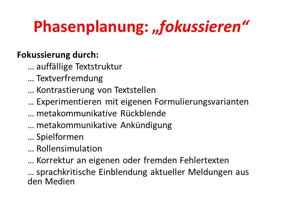 """Phasenplanung: """"fokussieren"""" Fokussierung durch: … auffällige Textstruktur … Textverfremdung … Kontrastierung von Textstellen … Experimentieren mit ei"""