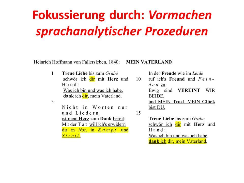 Fokussierung durch: Vormachen sprachanalytischer Prozeduren