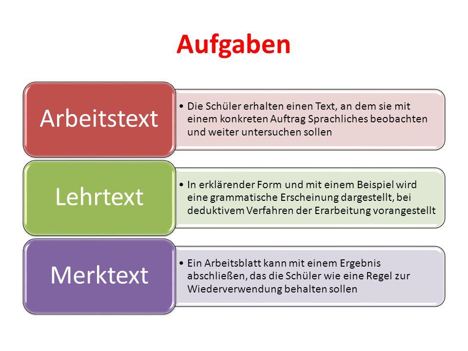 Aufgaben Die Schüler erhalten einen Text, an dem sie mit einem konkreten Auftrag Sprachliches beobachten und weiter untersuchen sollen Arbeitstext In