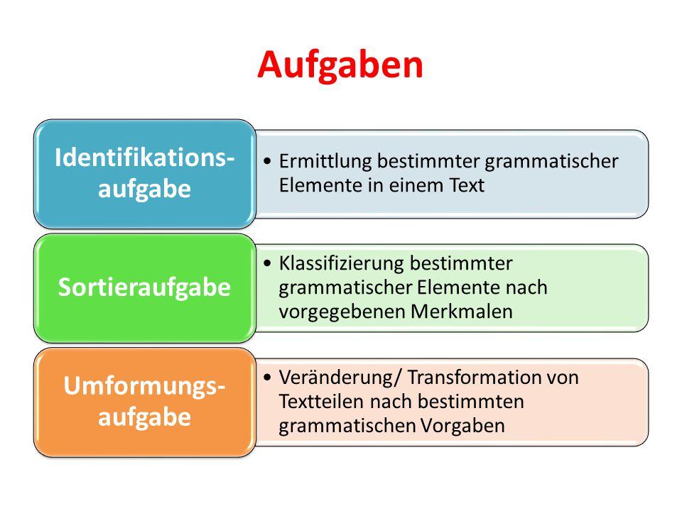 Aufgaben Ermittlung bestimmter grammatischer Elemente in einem Text Identifikations- aufgabe Klassifizierung bestimmter grammatischer Elemente nach vo