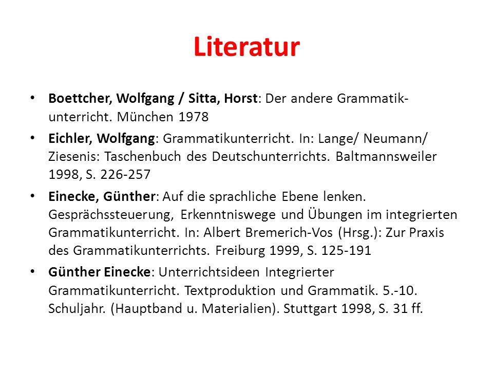 Literatur Boettcher, Wolfgang / Sitta, Horst: Der andere Grammatik- unterricht. München 1978 Eichler, Wolfgang: Grammatikunterricht. In: Lange/ Neuman